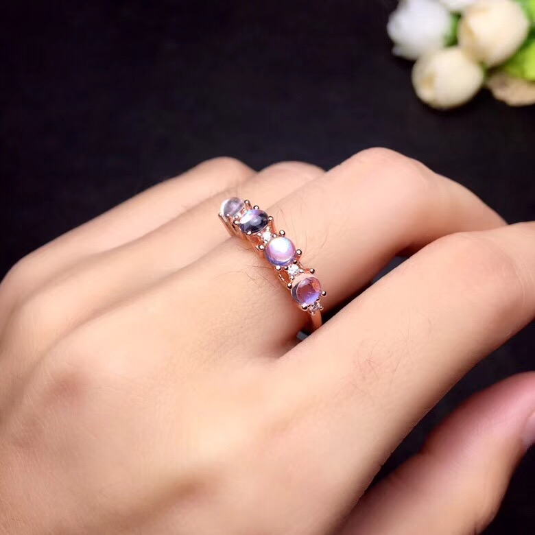 Uloveido Rose Gold Color Natural Blue Moonstone Ring Oval Cut 4 pcs Gemstone Wedding Birthstone Rings