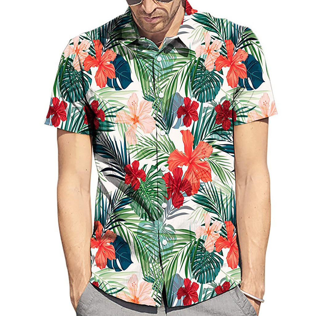2019 New Arrivals Men Summer Fashion Style Leaf Flower Hawaiian Style Short-sleeved Shirts Mens Hawaiian Shirt Short Sleeve