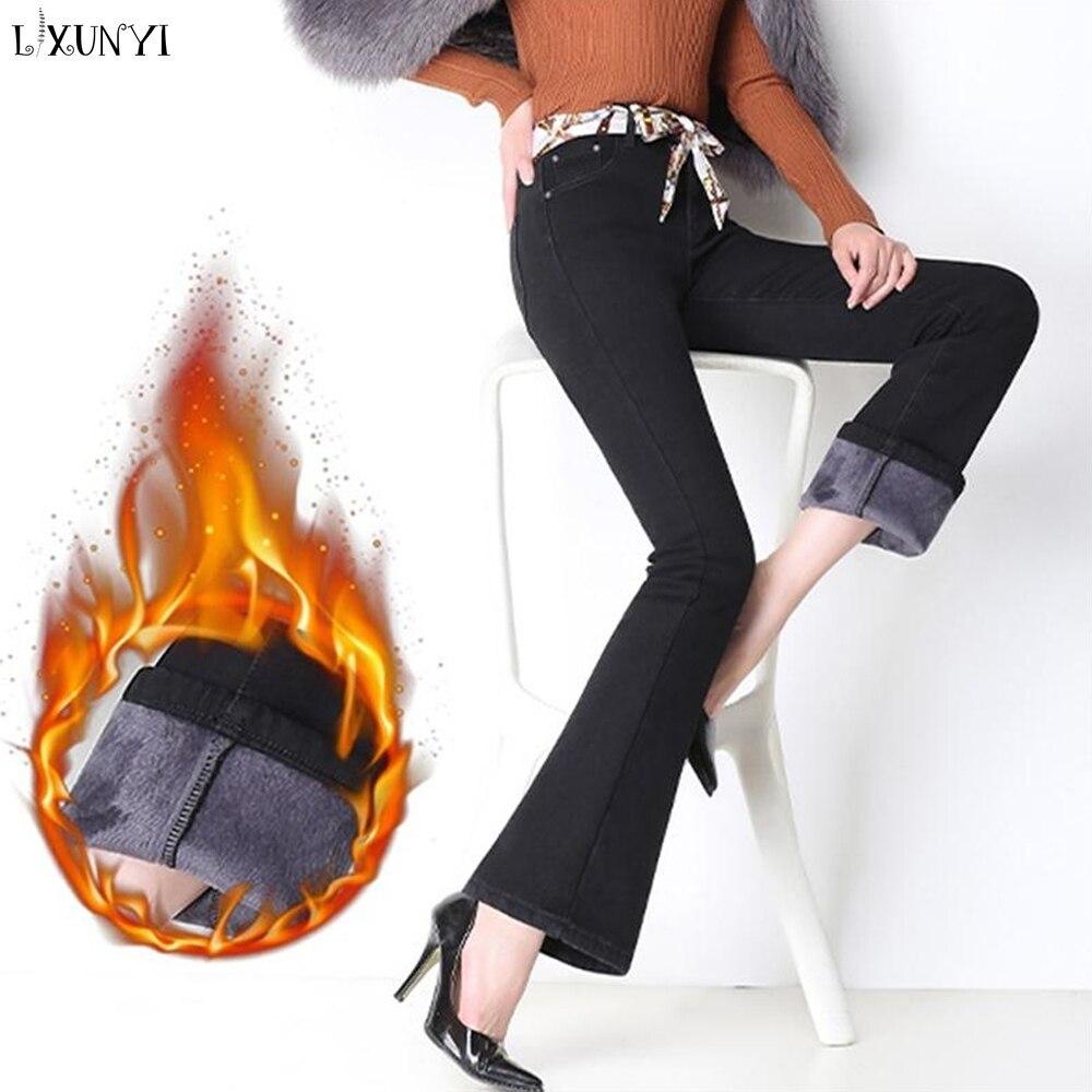 LXUNYI Automne Hiver Velours Épaississement Jeans Flare Femmes Taille Haute Épais pantalon denim Femelle Ceintures Jeans Mujer 2019 grande taille