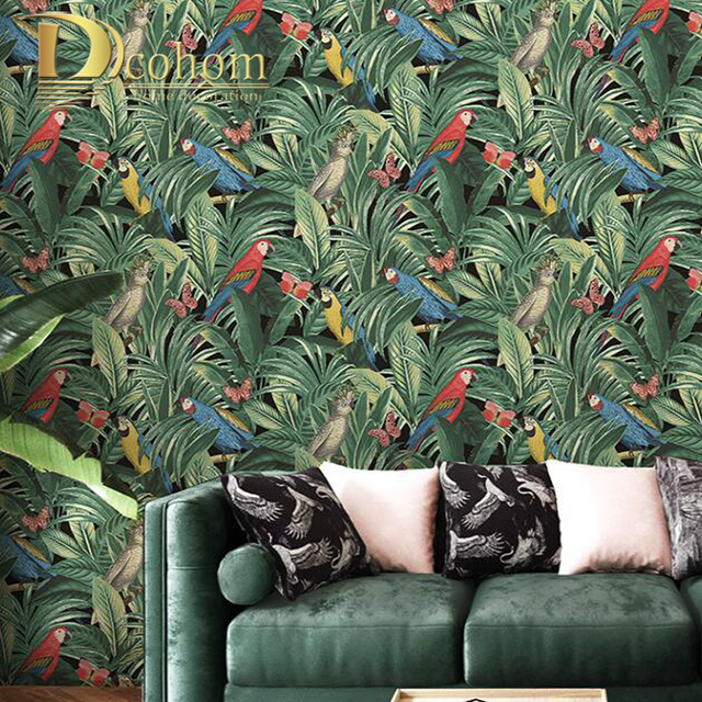 Us 23 99 40 Off Green Banana Leaf Tropical Wallpaper Modern Art Floral And Birds Pvc Waterproof Wall Paper Roll Wall Decor Living Room In Wallpapers