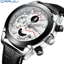 Sports Watches Fashion Brand CRRJU Casual Leather Quartz Men s Watch Chronograph Mens Wristwatch Male Clock