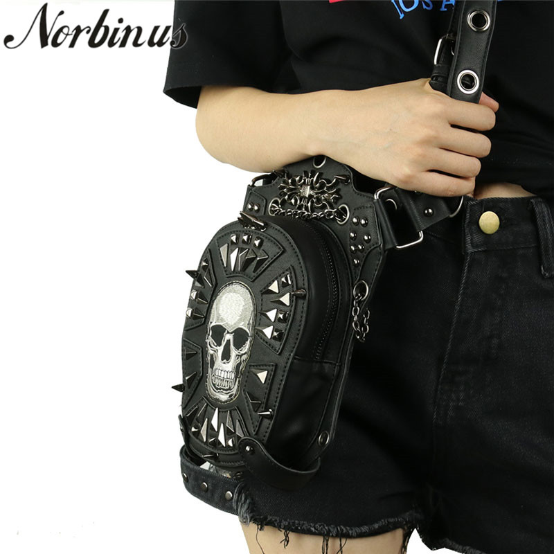 Norbinus Women Gothic Skull Bag Men Retro Rock Shoulder Crossbody Bag Unisex Fashion Motorcycle Leg Bag Leather Rivet Waist Bags gothic skull cross rivet cow leather double fold wallet brown