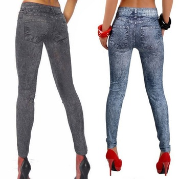 2017 Spring Autumn New Fashion Skinny Slim Thin High Elastic Waist Washed Jeans leggings Pencil Pants Denim Leggings For Women 4