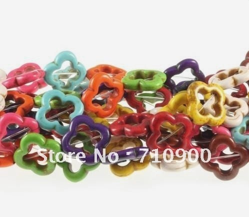 Wholesale Lots 42pcs Cool Colorful Mix Color Flower Howlite Natural CHARM Turquoise Beads Charms Spacer Loose  DIY Beads 17mm