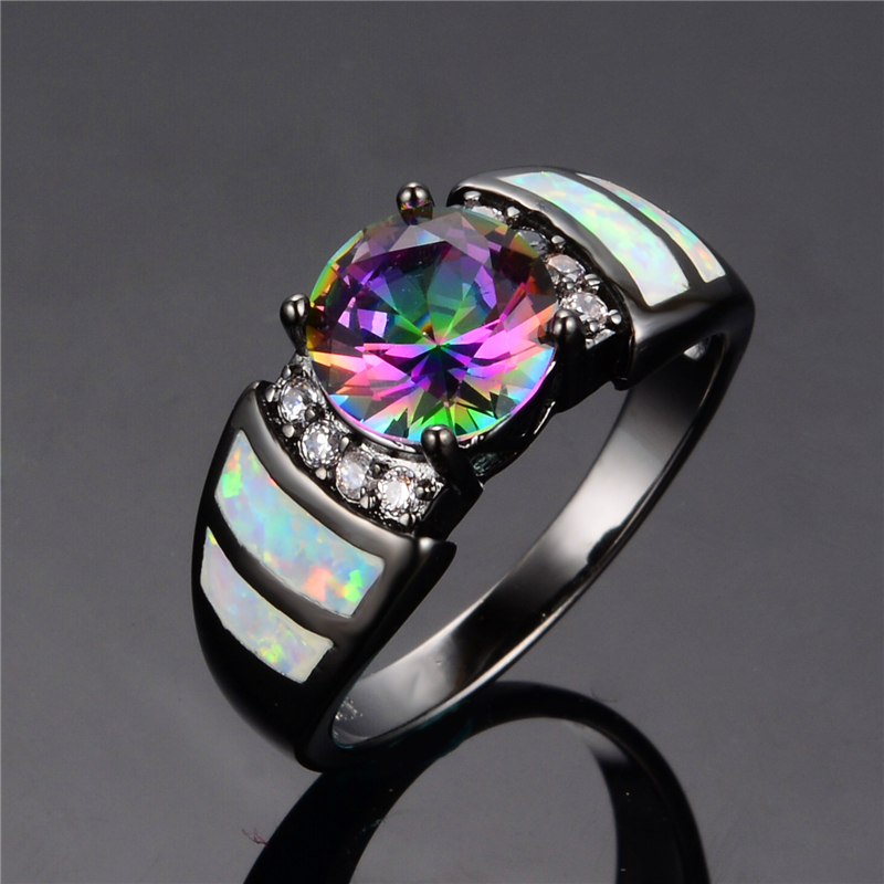rainbow fire opal finger rings black gold filled jewelry engagement wedding party gift rings for women - Rainbow Wedding Rings