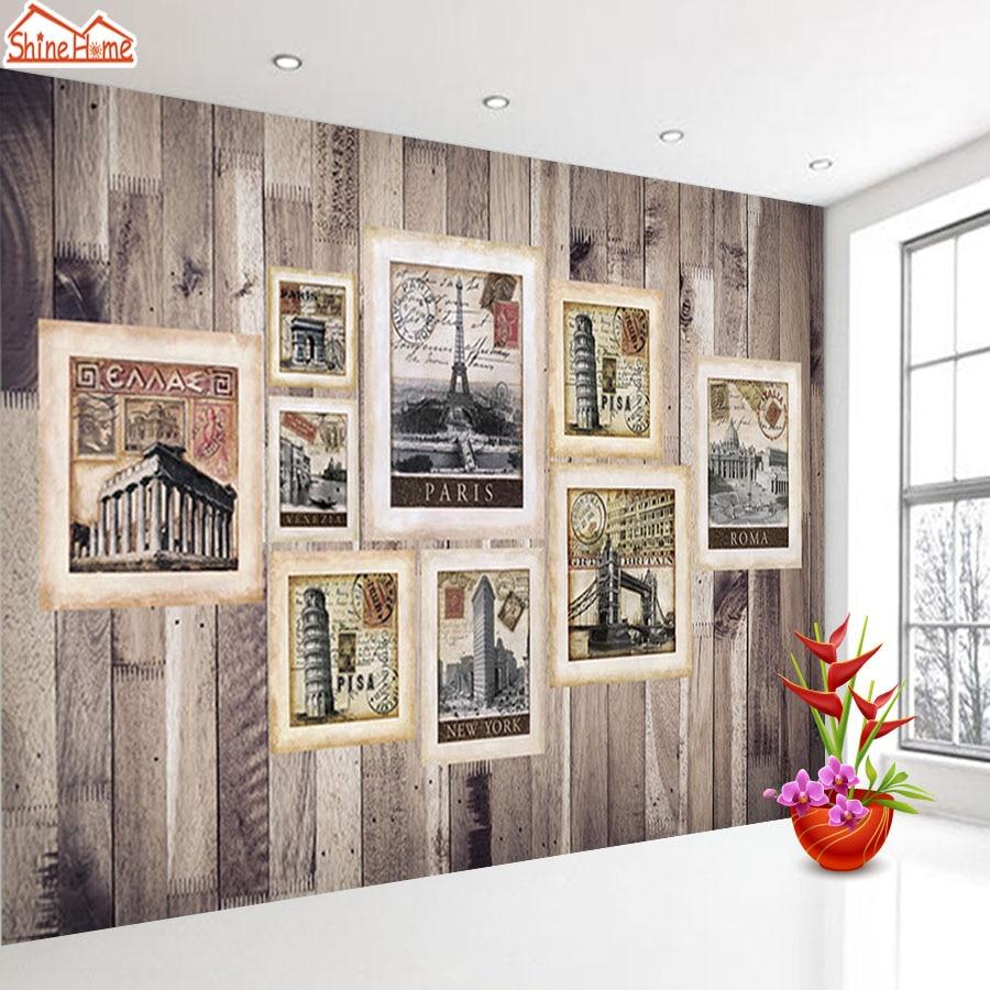 ShineHome-Classical City Landmark Painting Frame Wood Board 3d Wallpaper Rolls for Walls 3 d Livingroom Wallpapers Mural Paper