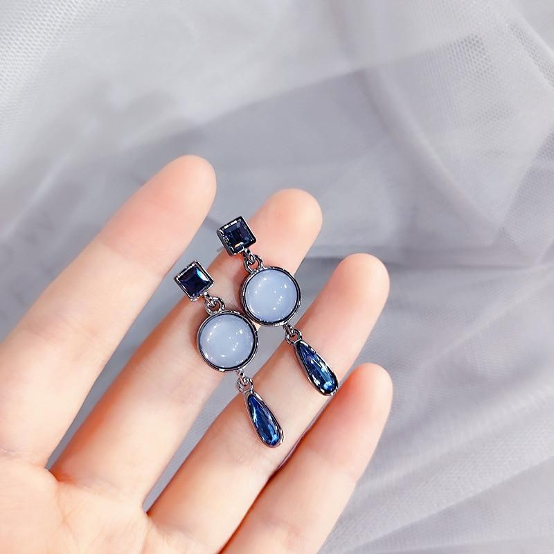 Classic Rhinestone Round Women Dangle Earrings Crystal Blue Drops Cat's Eye Geometric Earrings Drop Earrings Jewelry Earrings