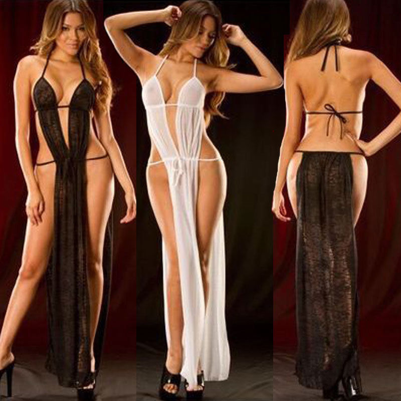 Bathrobe Black Transparent Women's Underwear Sexy Erotic Lingerie Lace Babydoll Dress Sexy Nightgowns Long Night Dress Sleepwear