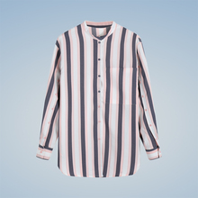 2018 New Women color striped shirt stand collar Buttons Pockets long sleeve blouse autumn casual tops Blusas Women's Shirts
