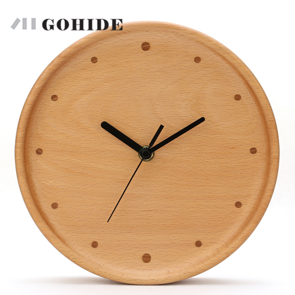JUHD Creative Simple Wood Wall Clock Modern Design Digital ...