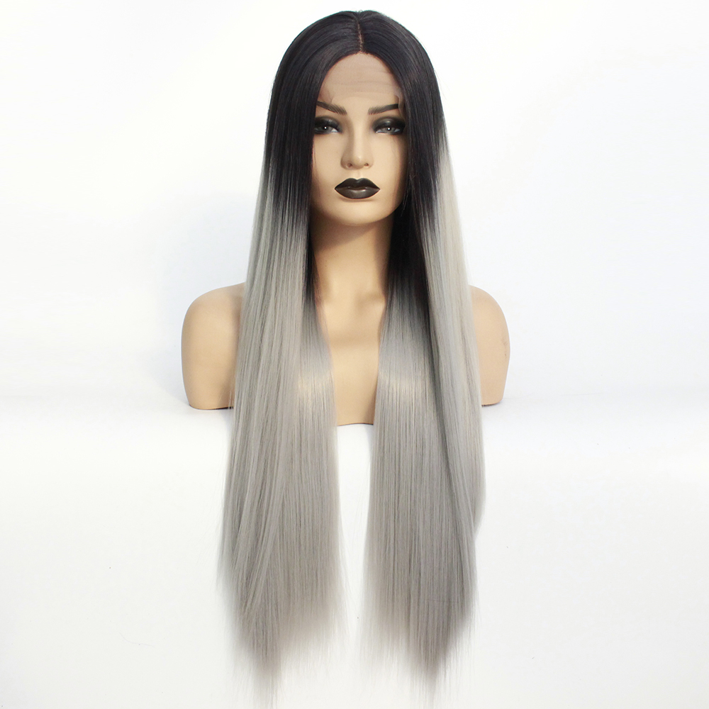 Long Middle Part Wig Ombre Grey Lace Front Wig for Women or Girls Cosplay Daily Party Cheap Heat Resistant Synthetic Full Wigs Straight Real Gray Fiber Wig (Not Human Hair) Half Hand Tied 24In Free Wigs Cap-2