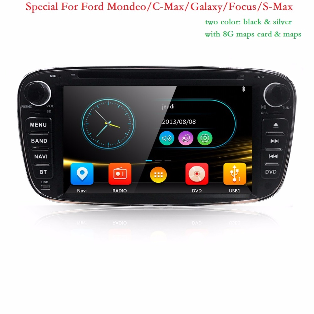 Wholesale! Two Din 7 Inch Car DVD Player For FORD/Mondeo/S-MAX/C-MAX/Galaxy/FOCUS 2 Radio FM GPS Navigation 1080P Ipod BT 8G Map