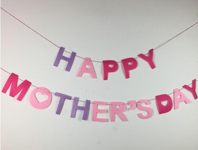 Happy Mothers Day Party Banner Decoration Supplies Felt Fabic