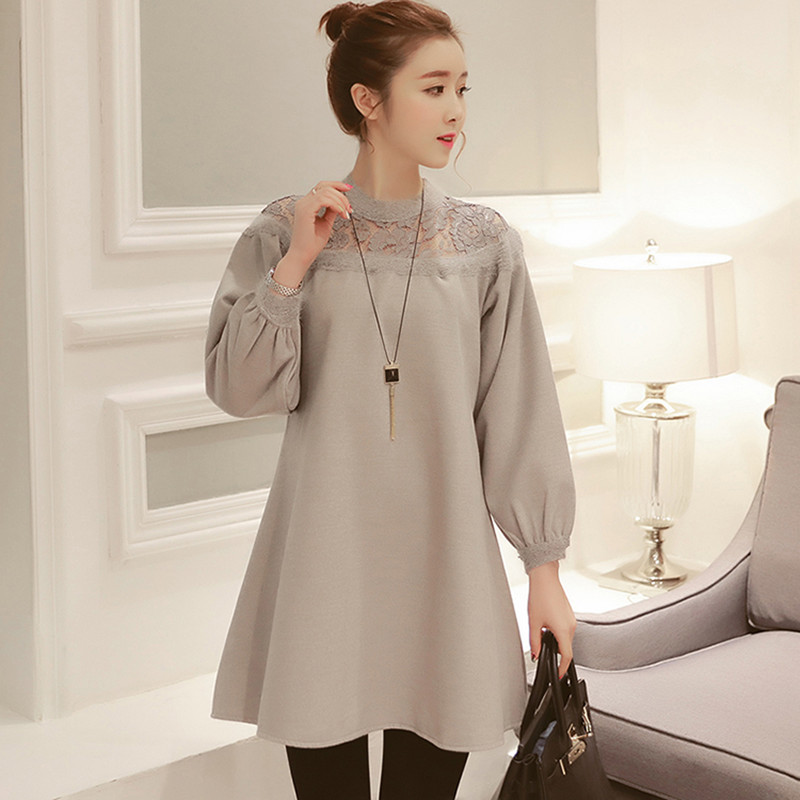 Buy 8031 2017 Spring Korean Fashion Maternity Shirts Lace O Neck Bubble Long