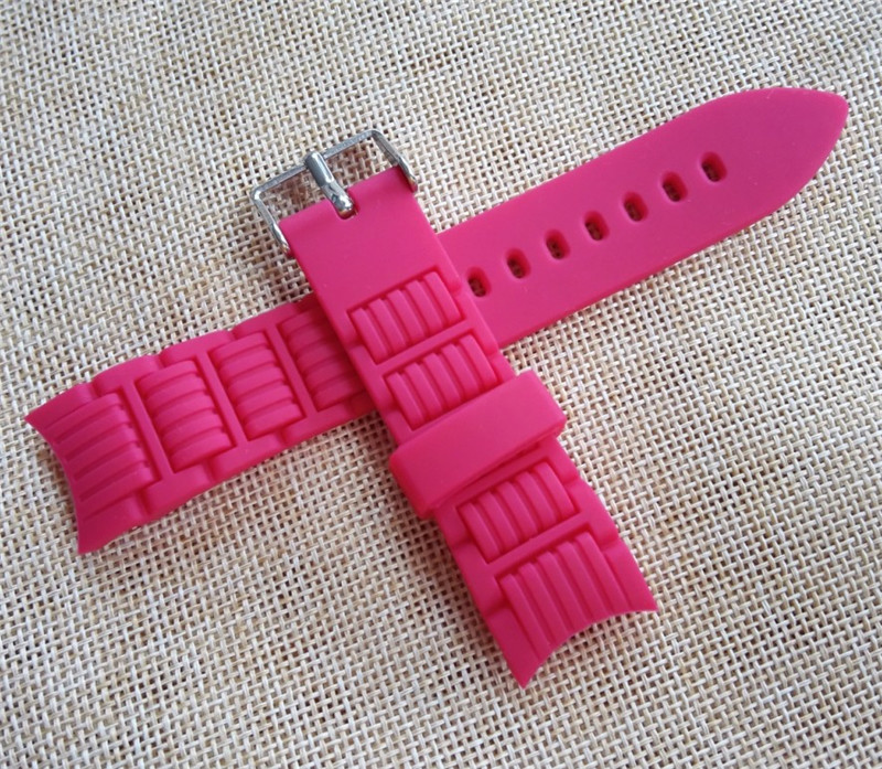 18mm 20mm Silicone Rubber Radian Arc Degree Strap Watch Parts Watch Band Watchband Pin Buckle For Diving Wrist Watch Tool in Watchbands from Watches