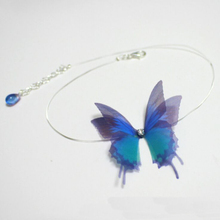 ФОТО  design 3D butterfly yarn lace transparent Rope chokers necklaces for women girls  jewelry Lovely cute fairy necklaces