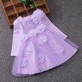 2017 otoño de los bebés visten con cinturón de manga larga party girl vestido de Flores 3D vestido de novia cordón de la muchacha de malla ropa de los cabritos 2-7 T