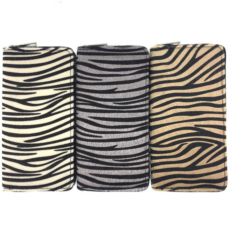 Kandra Personalized Women Wallet Long Clutch Zebra Print Fur Leather Pony Hair Purse Colorful Stripped Credit Card Wallet 2019