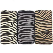 Kandra Personalized Women Wallet Long Clutch Zebra Print Fur Leather Pony Hair Purse Colorful Stripped Credit Card 2019
