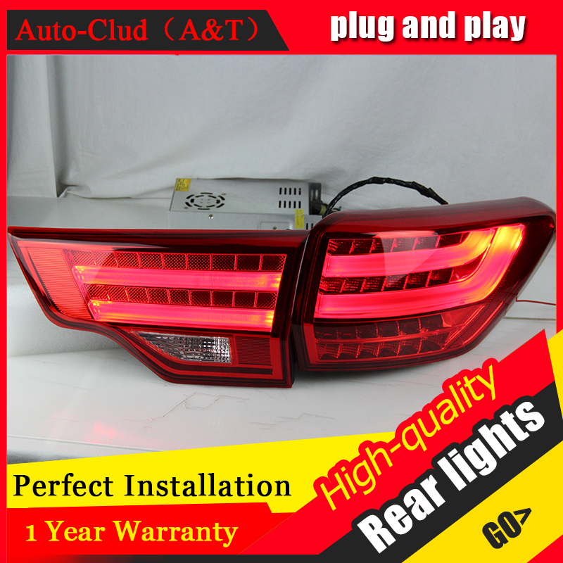Car Styling Accessories for Highlander Taillights 2014-2015 New Kluger LED Tail Lamp Kluger Rear Lamp DRL+Brake+Park+Signal
