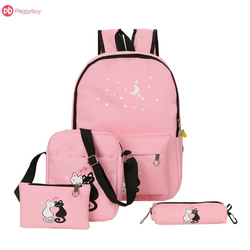 4cs/set Canvas Women Backpacks Schoolbag Cat Print Cute Cat School Bag Backpack For Teenager Girls Zipper Rucksack Moclila Bolsa simple cat print and canvas design satchel for women