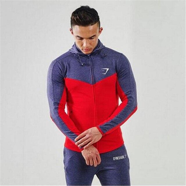 Men's hoodies High Quality Autumn Men Zipper Hoodies Long Sleeve Bodybulding Shark Hoodies Sweatshirts Gyms Muscle Fit Clothes