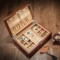 Высокое качество винтажная деревянная шкатулка для украшений ожерелье кольцо браслет коробка для хранения ювелирных изделий двойной слой