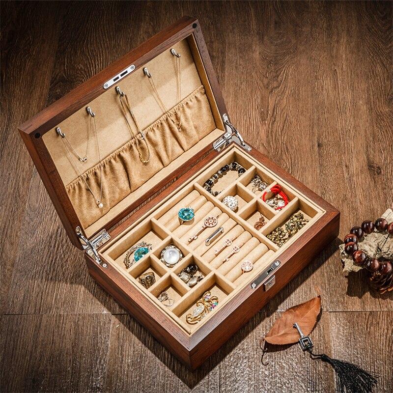 Haute qualité Vintage bois boîte à bijoux collier anneau Bracelet bijoux boîte de rangement Double couche avec serrure jaune intérieur