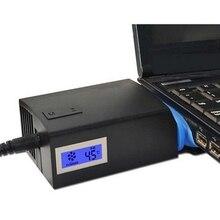 Универсальный Тетрадь ноутбук кулер USB вентилятор охлаждения воздушный охладитель Скорость Регулируемый с ЖК-дисплей Температура Портативный охлаждающая подставка для ноутбука