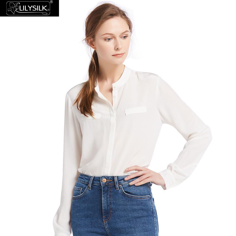 Lilysilk shirts blouse women 여성용 편안한 스탠드 칼라 실크 100 경량 주름 방지 무료 배송-에서블라우스 & 셔츠부터 여성 의류 의  그룹 1