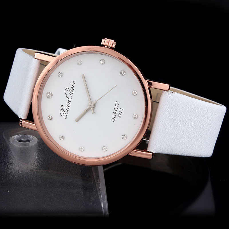 Модные женские часы 2018, женские часы с бриллиантовым кожаным ремешком, круглый циферблат, кожаный сплав, кварцевые наручные часы, montre femme, часы 50P