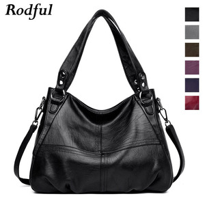 Image 2 - High quality Big gray black leather crossbody shoulder bag female large womens handbags leather ladies tote hand bags women