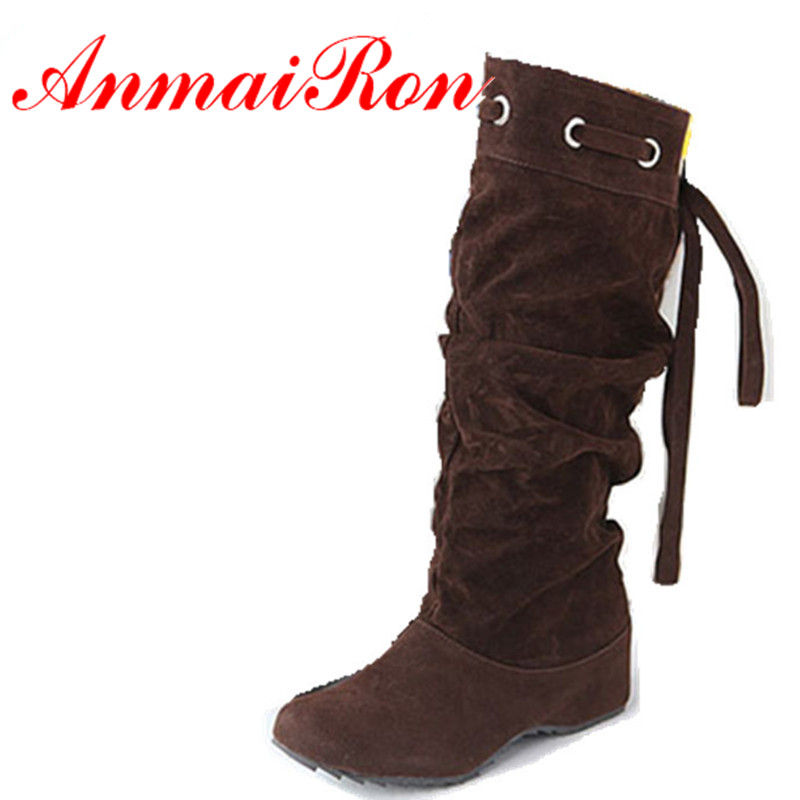 ANMAIRON Hot Sale Boots 4 ColorS Half Boots Women Lady Boot Winter Footwear Wedge Shoes Fashion Sexy Snow Warm EUR Size 34-43 serene handmade winter warm socks boots fashion british style leather retro tooling ankle men shoes size38 44 snow male footwear