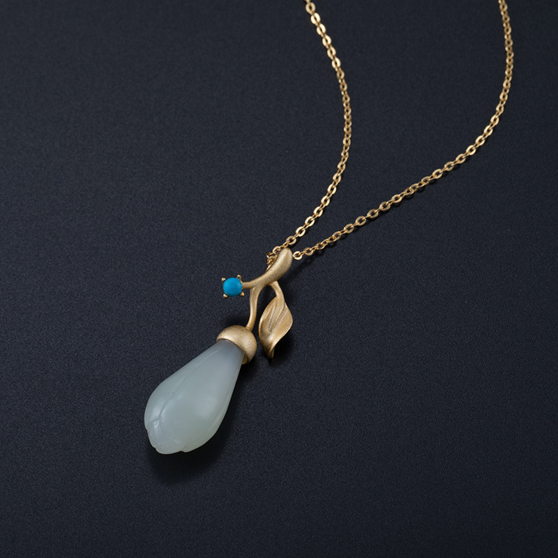 Fashion 925 Sterling Silver Bamboo Moonlight Necklace