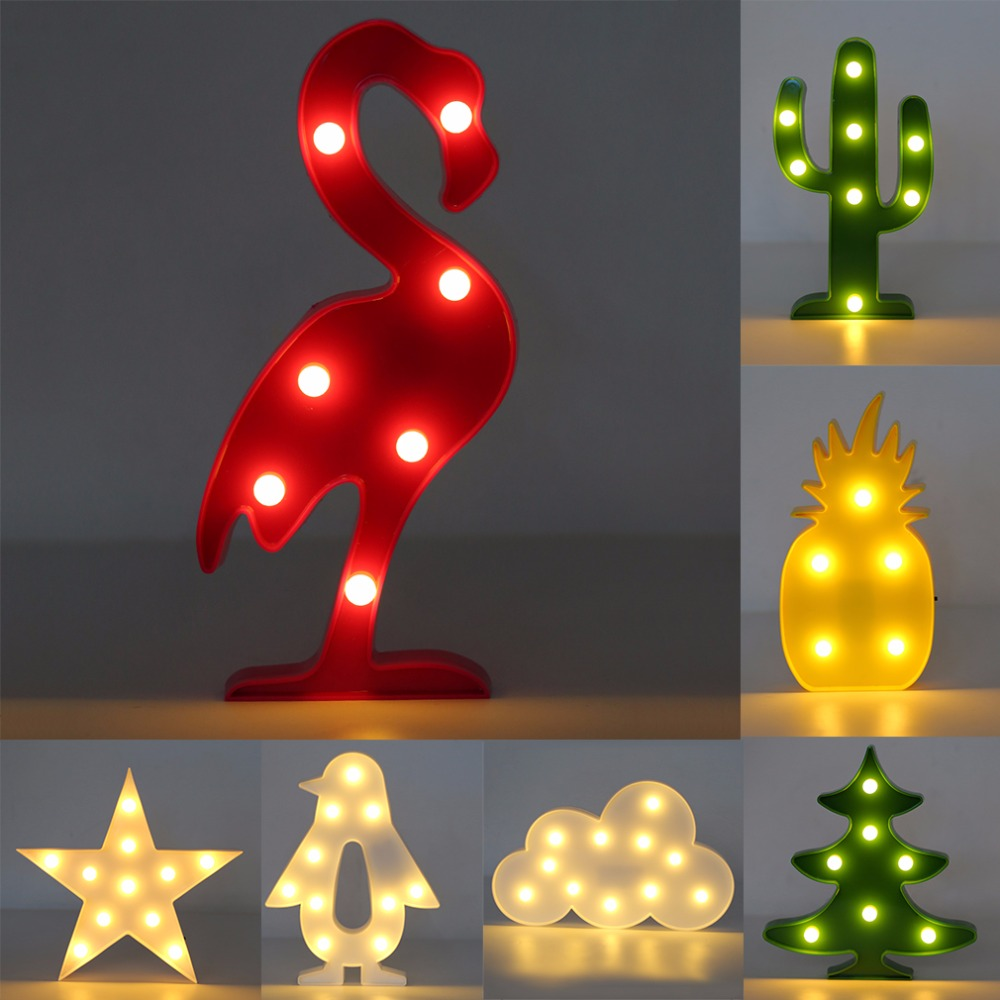 3d Led Light Romantic Flamingo Pineapple Cactus Night Lights Table Lamp Nightlight Christmas Festival Decor Gifts 2017 Brand New Aromatic Character And Agreeable Taste