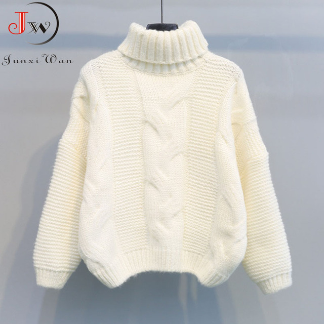 Autumn Winter Short Sweater Women Knitted Turtleneck Pullovers Casual Soft Jumper Fashion Long Sleeve Pull Femme 4