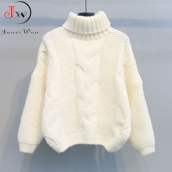 2019 Autumn Winter Short Sweater Women Knitted Turtleneck Pullovers Casual Soft Jumper Fashion Long Sleeve Pull Femme 6