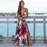 Estilingue feminino floral vestidos longos chegada verão boho com decote em v sem mangas festa à noite praia maxi vestido de verão casual