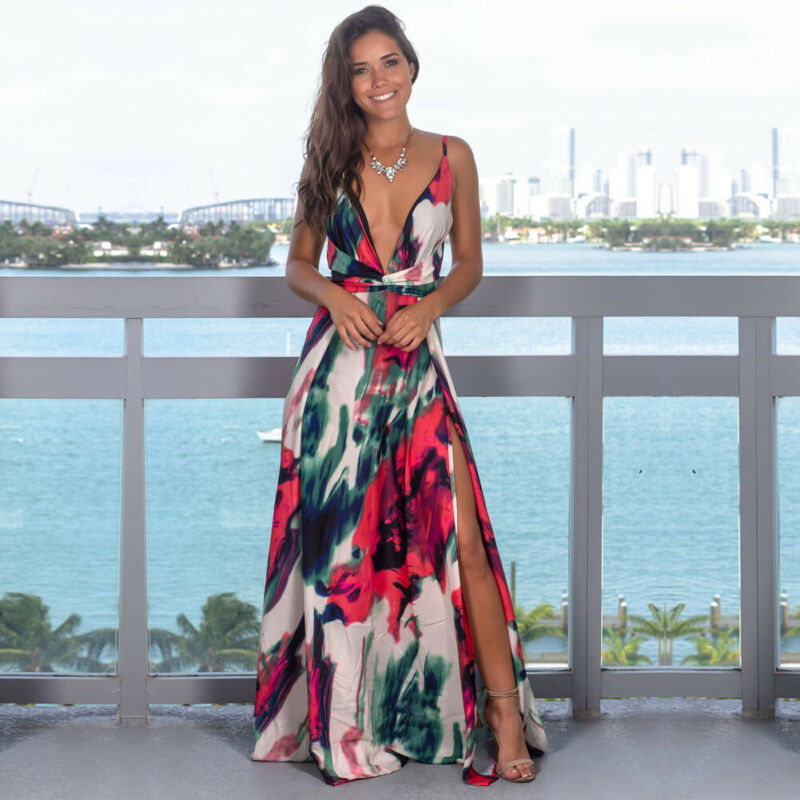 Women's Sling Floral Long Dresses Arrival Summer Boho V-Neck Sleeveless Evening Party Beach Maxi Dress Casual Sundress
