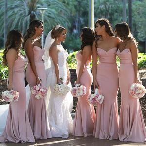 Image 3 - Pink Bridesmaid Dresses Mermaid Dress for Wedding Party Simple robe demoiselle dhonneur Long Bridesmaid Dress
