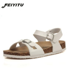 FeiYiTu Fashion Double Buckle Cork Sandals Flat with 2018 New Women Summer Beach Patchwork Casual Shoe