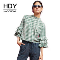 HDY Vintage Plaid Blouses 2017 Women Sexy Ruffles Flare Sleeve Green Plaid Blouse Shirts Tops Tee