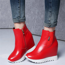 New Women Trainers Shoes Genuine Leather Wedges Platform High Heel Ankle Boots Round Toe High Top Pumps Punk Goth Creepers Shoes new arrival man handmade flat platform shoes genuine leather round toe carved men s cowboy riding high top ankle boots js22