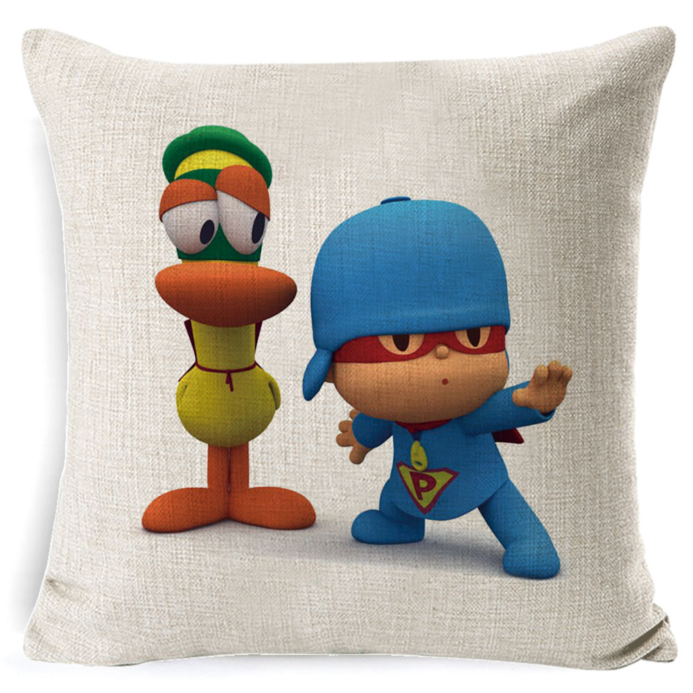 PEIYUAN-Pocoyo-Elly-Pato-Loula-Pocoyo-Dog-Duck-Cushion-Cover-Square-Plain-Multicolor-Pillowcase-Pillowsilp-for (3)