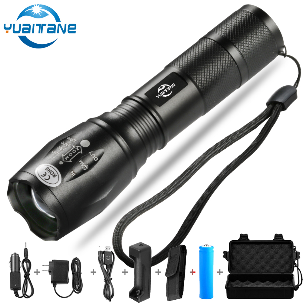 Leistungsstarke LED Taschenlampe 12000Lms T6/L2/V6 linterna Taschenlampe Zoombare Licht 5 schalter Modi Wasserdichte Fahrrad Licht durch 18650 batterie