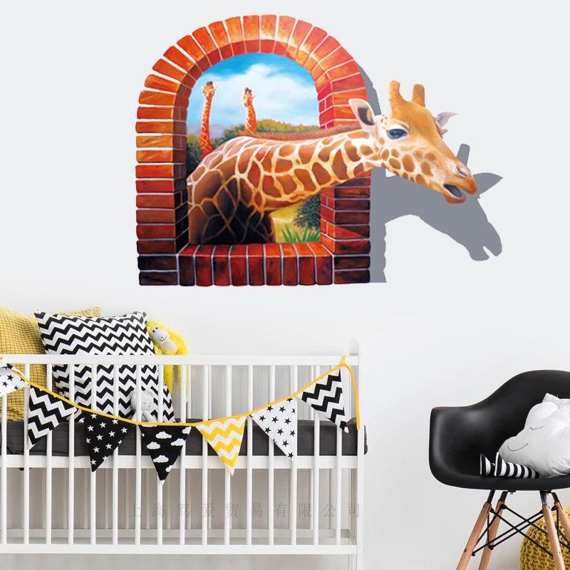 Window scenery Giraffe 3D wall stickers Vinyl DIY Wall Decals For Living room Baby Kids room Home Decoration wallpaper murals