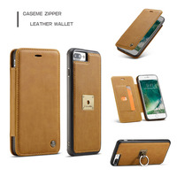 Luxury Leather 2 In 1 Phone Cases Card Slot Stand Flip Cover Back Shell With Ring