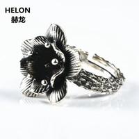 5pcs/lot Sterling Silver 925 Women Engagement Wedding Ring Pearl 7x7mm Semi Mount Fine Jewelry Vintage Art Deco Thai Silver