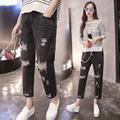 2017 New Ripped Jeans Women Denim Pants Holes High Waist Casual Trousers Pants Destroyed Torn Boyfriend Jeans hole jeans