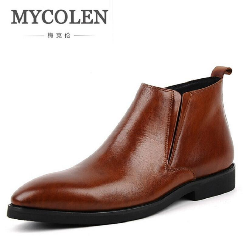 MYCOLEN Chelsea Boots Men Ankle Genuine Leather Mens Brown Boot Cow Leather Zipper High Quality Men Shoes botas hombre cuero northmarch brand ankle snow boots men shoes genuine leather winter fashion cow motocycle casual boot male high top flat botas